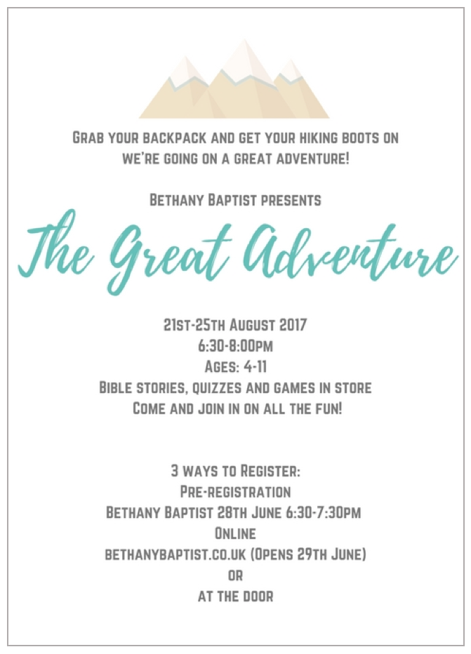 Bethany HBC The Great Adventure 2017 Info